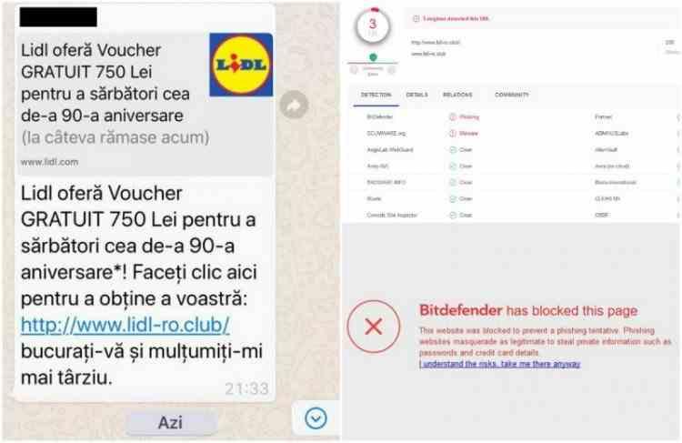 Tentativă de fraudă online ce implică numele Lidl, distribuită în mesaje pe WhatsApp