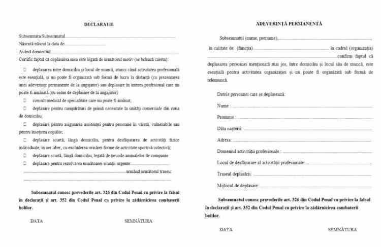 FIȘIER ATAȘAT: Documentele pe care cetățenii sunt obligați să le prezinte pe perioada restricțiilor pentru combaterea răspândirii COVID-19