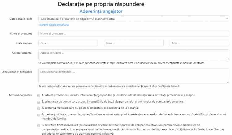 formular.sts.ro - Platforma electronică pentru completarea online a declarațiilor pe proprie răspundere și a adeverințelor de angajator