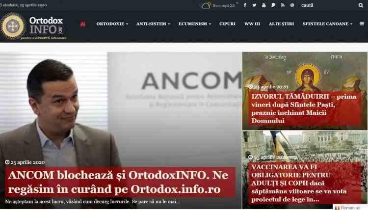Site-ul ortodoxinfo.ro a fost închis pentru difuzare de știri false
