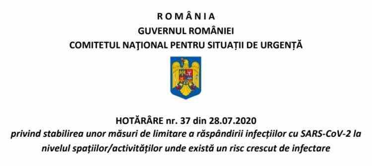 DOCUMENT: Noi restricții anunțate de Comitetul Național pentru Situații de Urgență