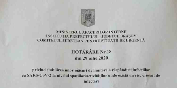 Purtarea măștii de protecție în spațiile deschise aglomerate devine obligatorie și la Brașov de la 1 august