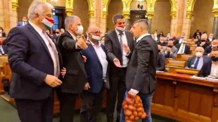 Politician amendat cu 12000 de euro după ce a vrut să-i dea premierului din Ungaria un sac de cartofi în Parlament
