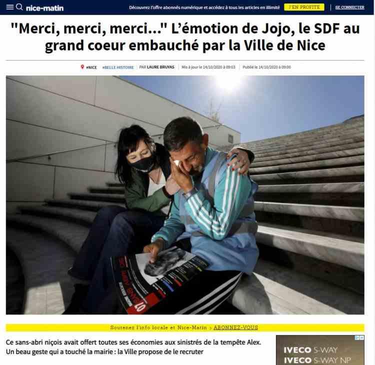 Românul fără adăpost din Franța care a donat toți banii săi sinistraților a fost angajat de primăria din Nisa
