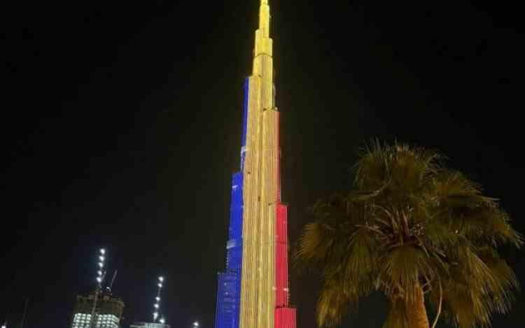 Ziua României în Dubai - Cel mai înalt turn din lume a fost iluminat în culorile tricolorului