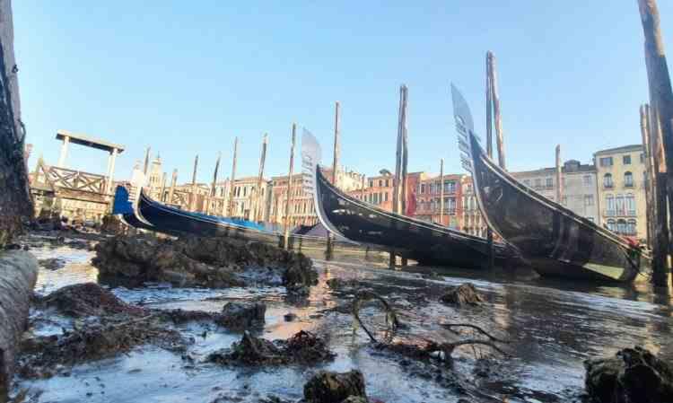 Imagini neobișnuite din Veneția: Canalele au rămas fără apă, iar gondolele stau în noroi