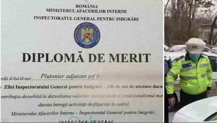 Un fost polițist, arestat pentru înșelăciune, a primit o diplomă de merit din partea MAI
