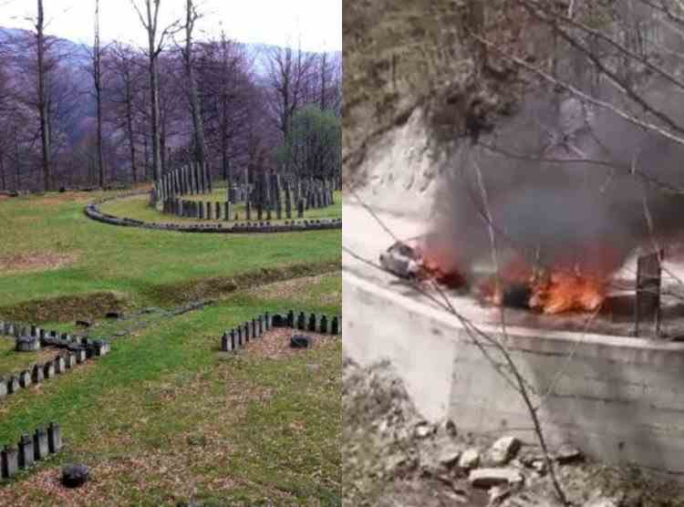 Două mașini au ars în parcarea sitului arheologic Sarmizegetusa Regia din Munții Orăștiei