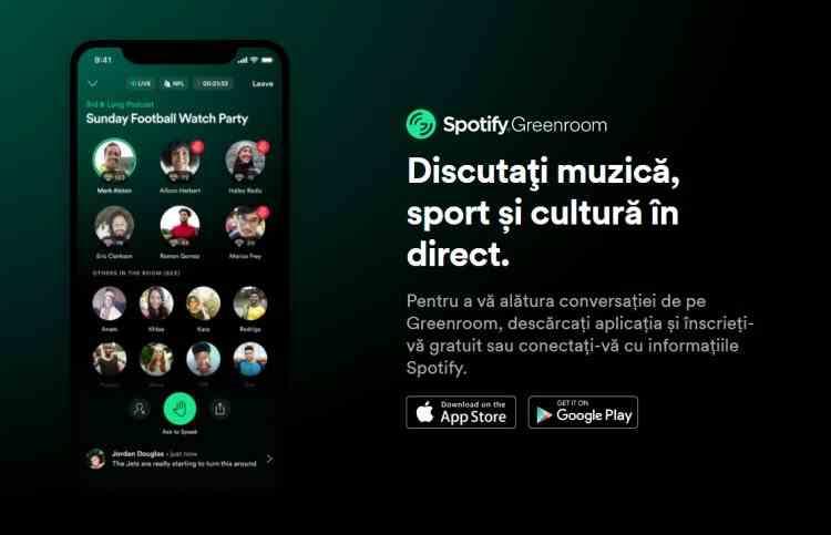 Spotify lansează Greenroom, un rival Clubhouse și Twitter Spaces