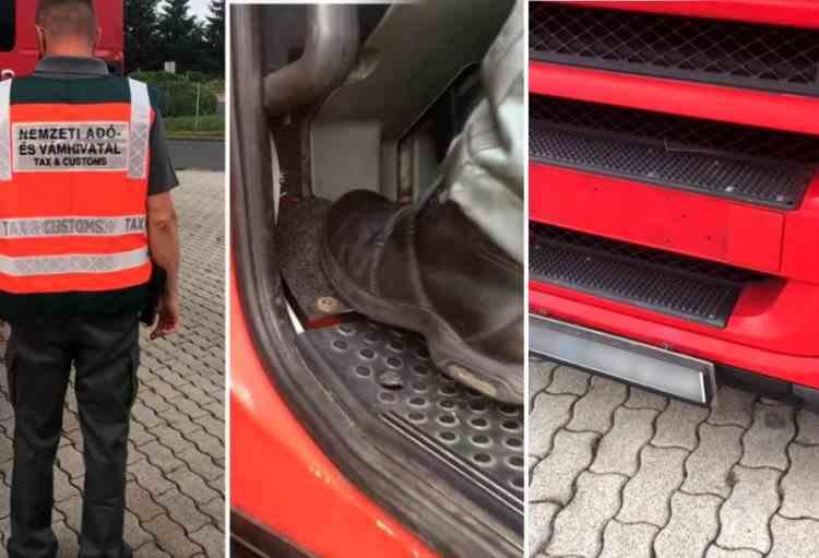 VIDEO - Șofer român de TIR, prins cu o pedală în plus, în Ungaria: Își ascundea numărul de înmatriculare și nu plătea taxa de drum